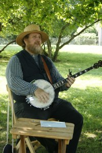 Banjo player at Hale Farm and Village in Bath, Ohio.
